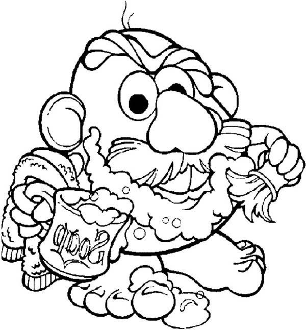 Mr. Potato Head, : Mr. Potato Head Shave His Beard Coloring Pages