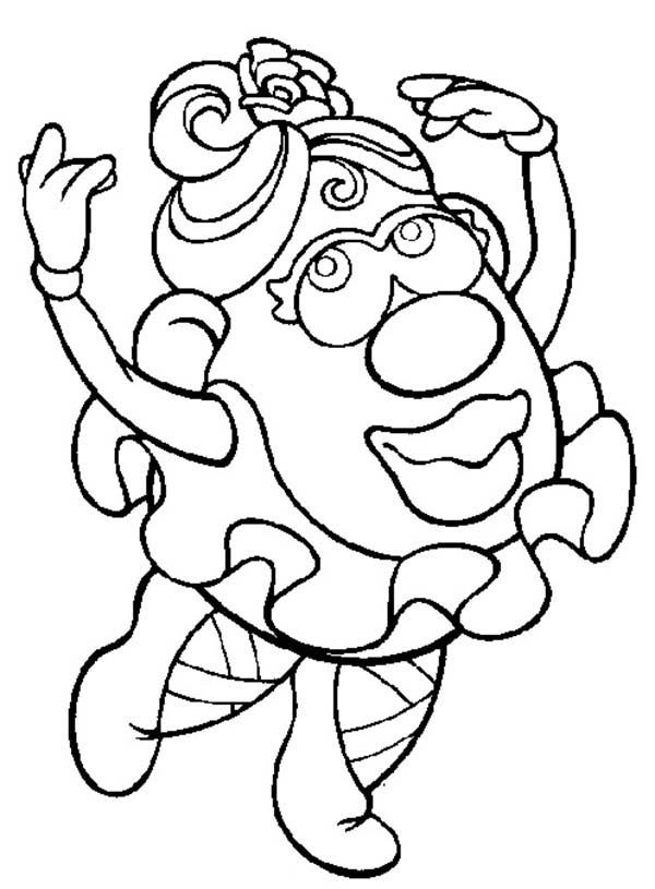 Mr. Potato Head, : Mr. Potato Head Wife Doing Ballet Coloring Pages