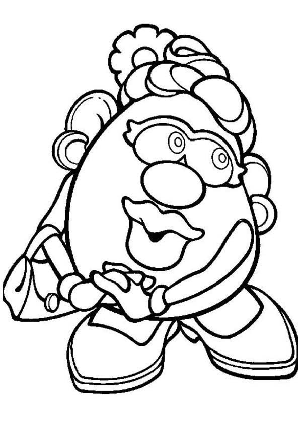 Mr Potato Head Coloring Page Brilliant Mrpotato Head Wife Feeling Shy Coloring Pages  Bulk Color Design Ideas