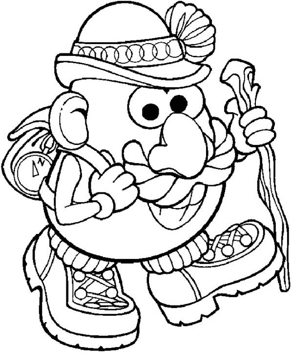 Mr. Potato Head, : Mr. Potato Head is Going to Hiking Coloring Pages