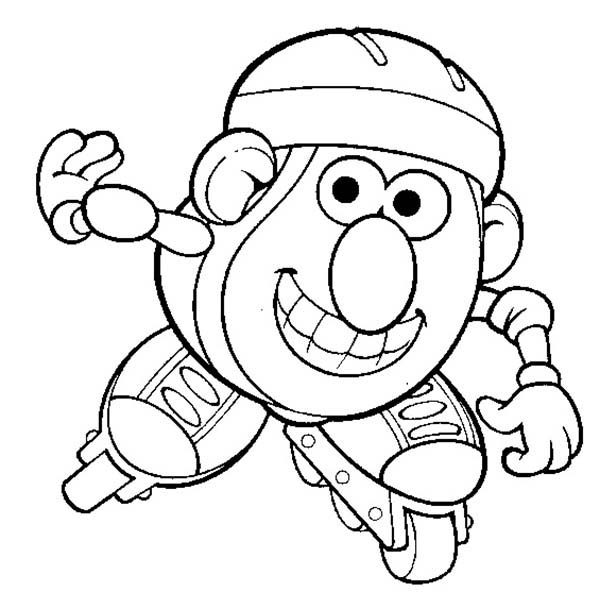 Mr. Potato Head, : Mr. Potato Head is Love to Play Rollerskate Coloring Pages