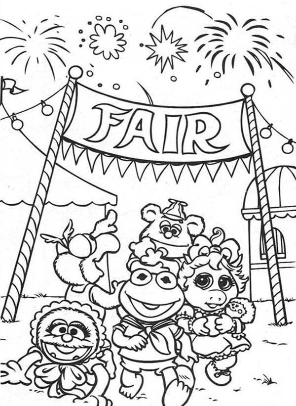 Muppet Babies, : Muppet Babies Fireworks at Annual Baby Fair Coloring Pages