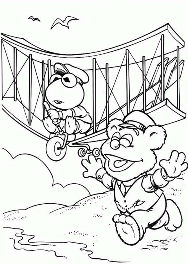 Muppet Babies, : Muppet Babies Inventing Airplane Coloring Pages