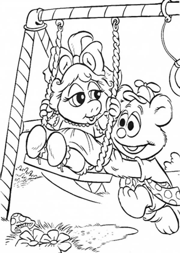 Muppet Babies, : Muppet Babies Play Swing in the Park Coloring Pages