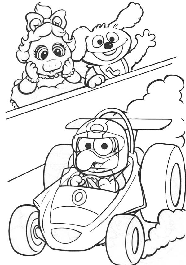Muppet Babies, : Muppet Babies Watching Formula 1 Race Coloring Pages