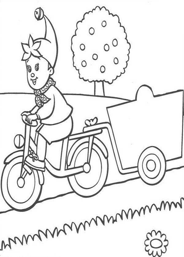 Noddy, : Noddy Bring Cart with His Bike Coloring Pages