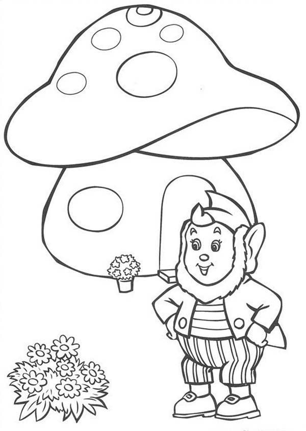 Noddy, : Noddy Friend Big Ear in Front of His House Coloring Pages