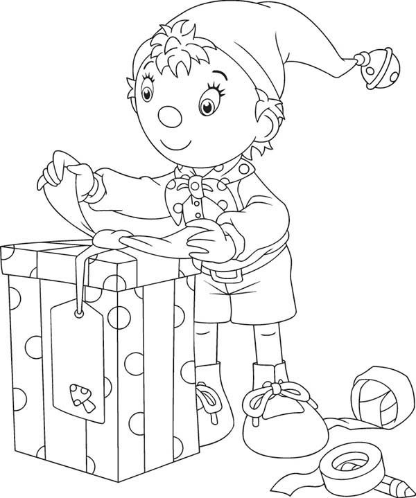 Noddy, : Noddy Open Big Box Present Coloring Pages