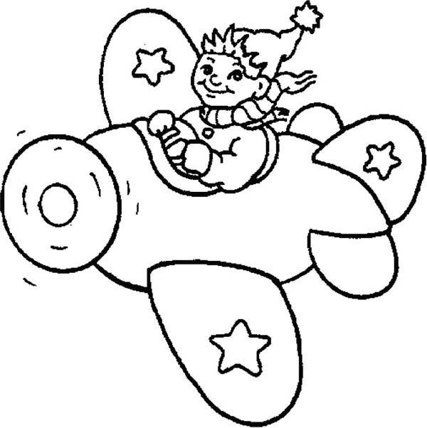 Noddy, : Noddy Ride an Airplane Coloring Pages
