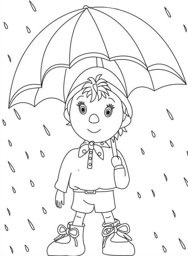 Noddy Walking In The Rain With Umbrella Coloring Pages