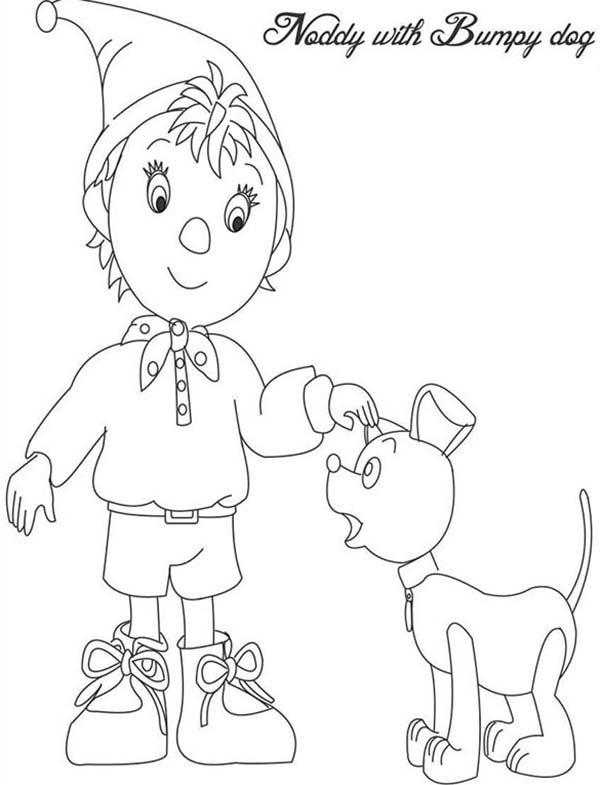 Noddy, : Noddy with Bumpy Dog Coloring Pages