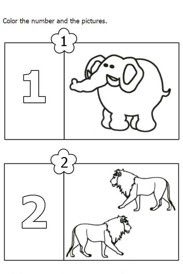 Number 2, : Number 2 for Two Lions Coloring Page