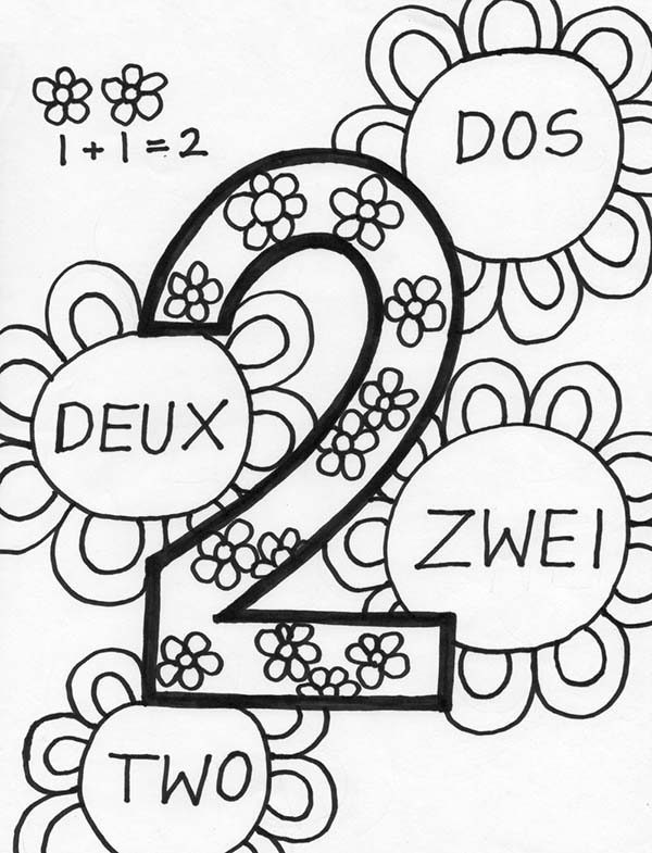 Number 2, : Number 2 in Several Language Coloring Page