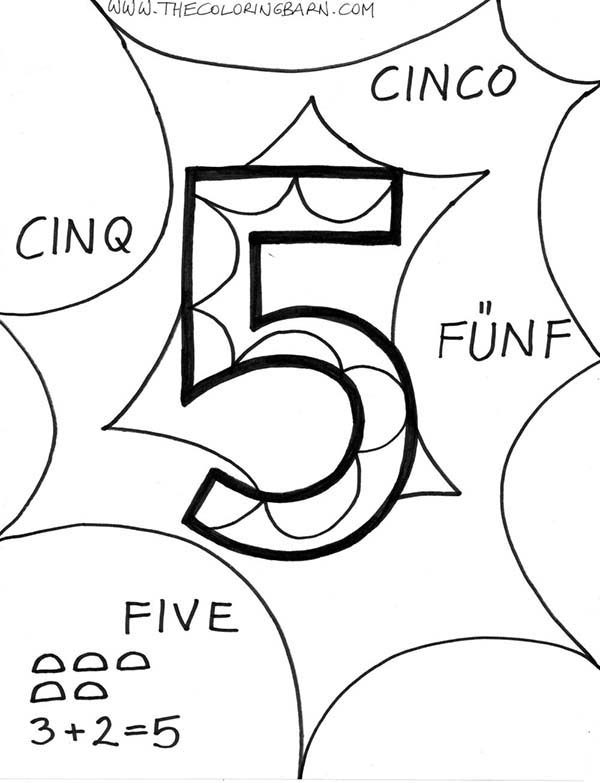 Number 5, : Number 5 in Several Language Coloring Page