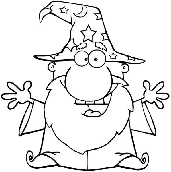 Merlin the Wizard, : Outline Picture of Merlin the Wizard Coloring Pages