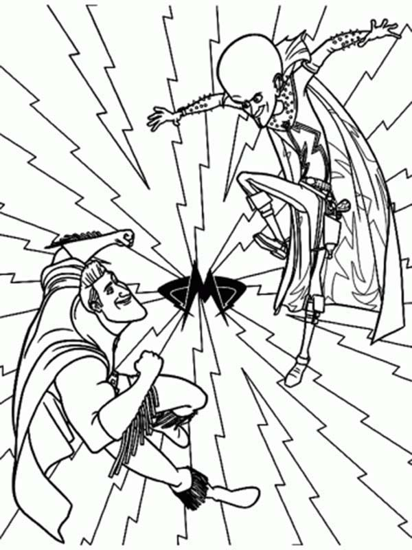 Megamind, : Picture of Megamind Versus Metroman Coloring Pages
