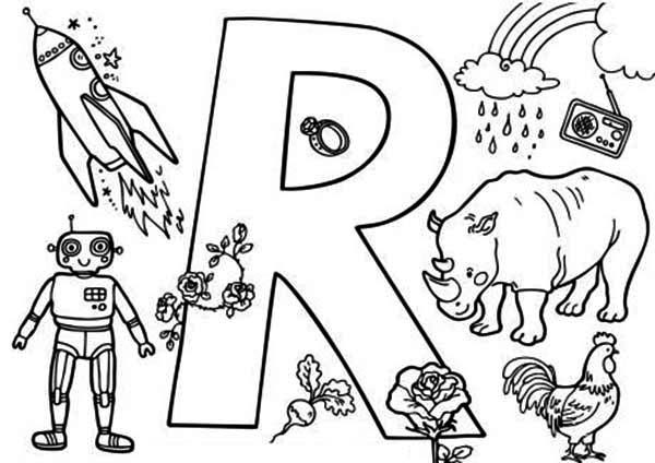 preschool kids learn about letter r coloring page