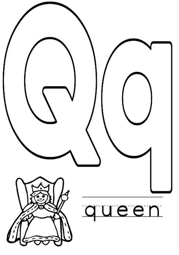 Letter Q, : Preschool Kids Learn Capital Letter Q Coloring Page