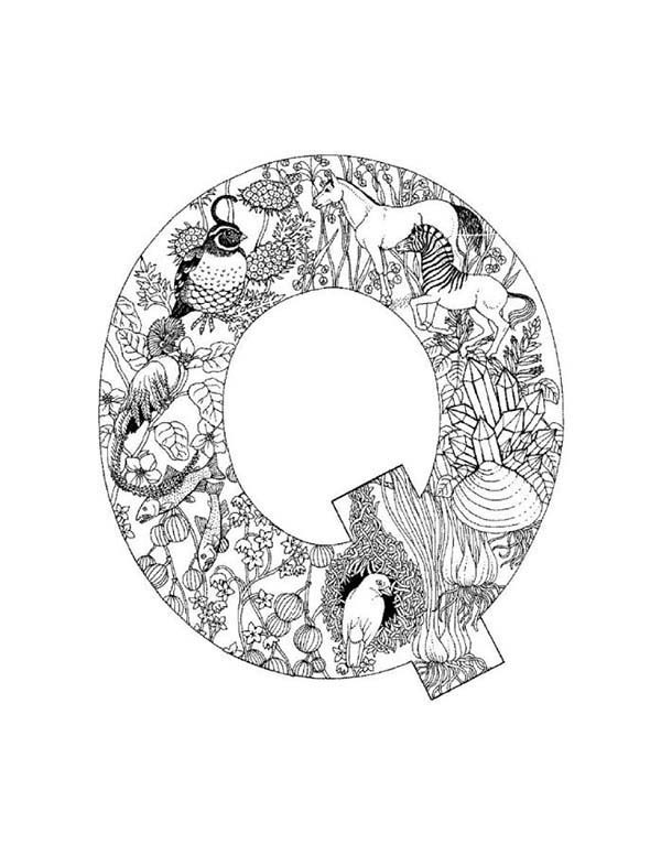 Letter Q, : Preschool Kids Learn Upper Case Letter Q Coloring Page