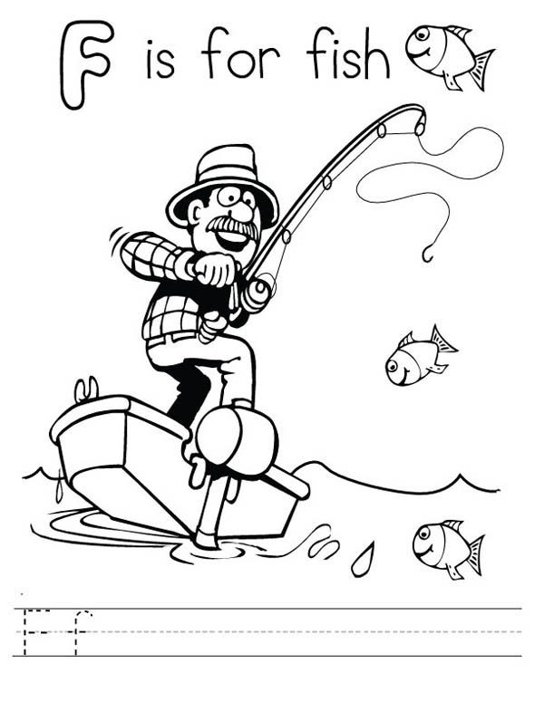 Letter F, : Preschool Learn Letter F Coloring Page