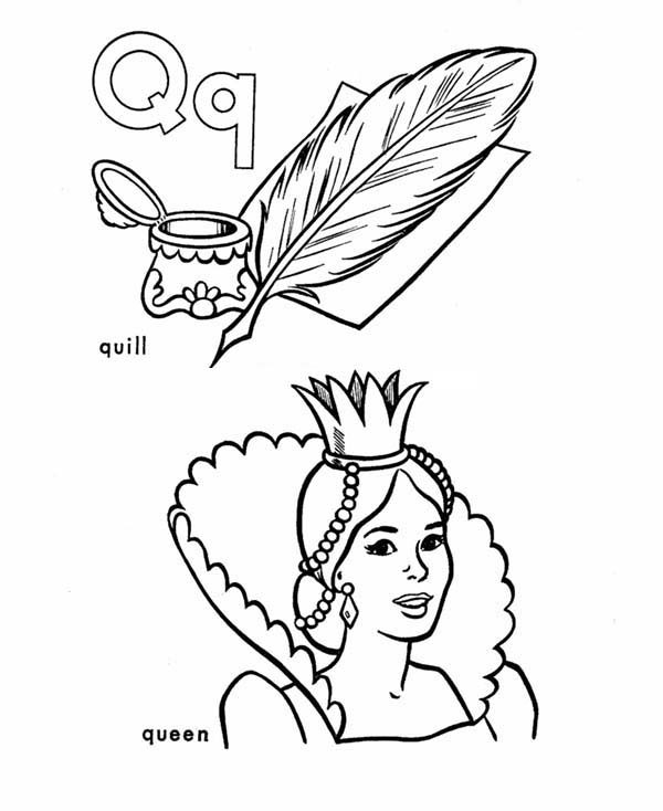 Letter Q, : Quill and Queen for Learning Letter Q Coloring Page