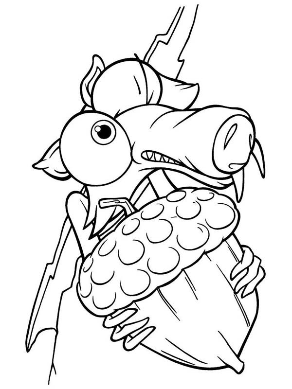 Scrat Holding Fruit Pine Tight in Ice Age Coloring Pages | Bulk Color