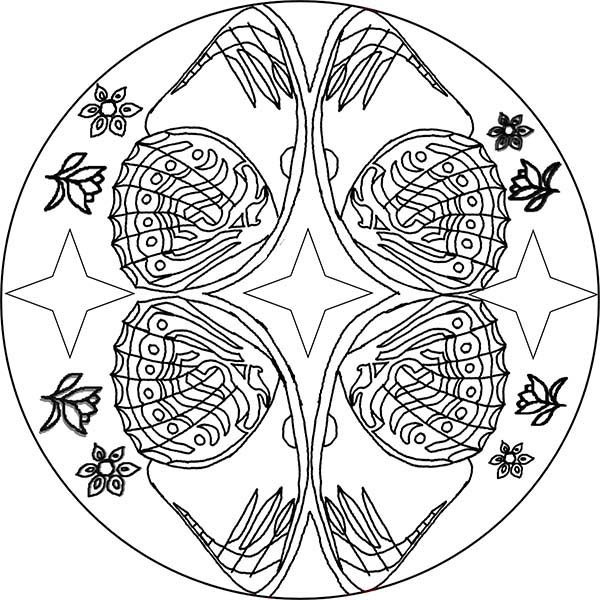 Mandala Animal, : Sea Clams Mandala Animal Coloring Pages