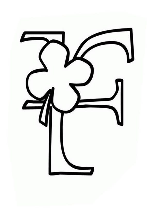 Letter F, : Shamrock Coloring Page for Letter F