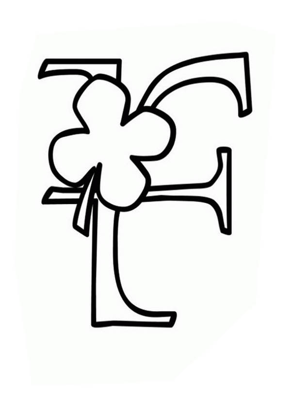 Letter F, Shamrock Coloring Page for Letter F: Shamrock Coloring Page For Letter FFull Size Image