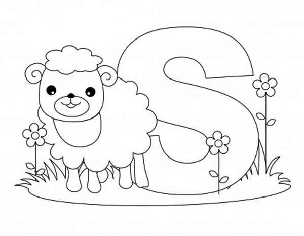 Letter S, : Sheep is for Learn Alphabet Letter S Coloring Page