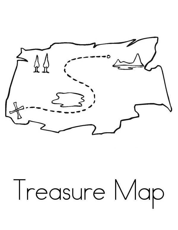 Maps, : Simple Treasure Maps Coloring Pages