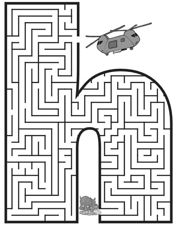 Letter H, : Small Letter H Maze Coloring Page