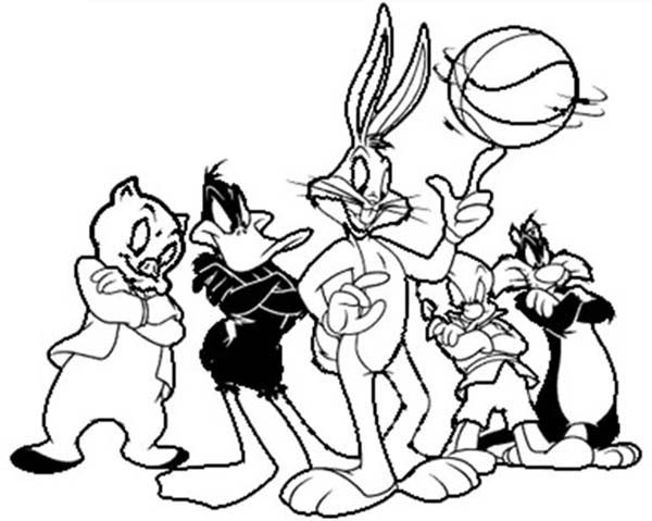 Looney Tunes, : Space Jam Looney Tunes Basketball Team Coloring Pages