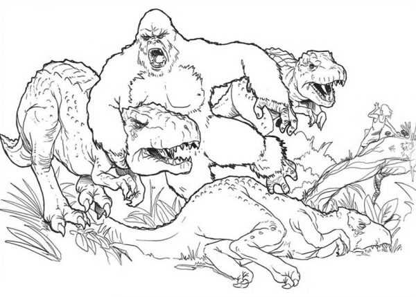 Super King Kong Versus Three Dinosaur Coloring Pages