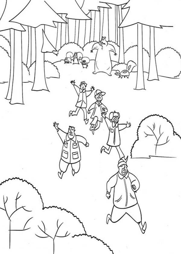 Oliver and Company, : The Hunter Escape from Timber National Forest in Open Season Coloring Pages