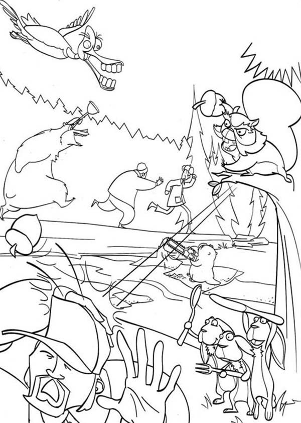 Oliver and Company, : The Hunter Running Away in Open Season Coloring Pages