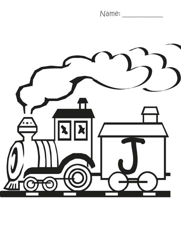 Letter J, : Train Carry Letter J Coloring Page