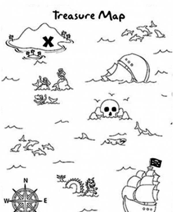 Maps, : Treasure Maps Coloring Pages