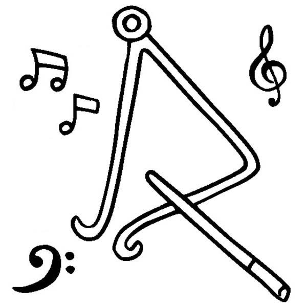coloring pages musical instruments - triangle instrument coloring page coloring pages