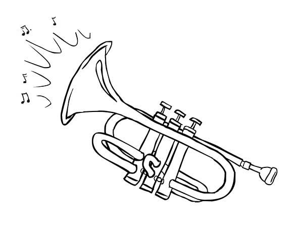 Musical Instruments, : Trumpet is a Musical Instruments Coloring Pages