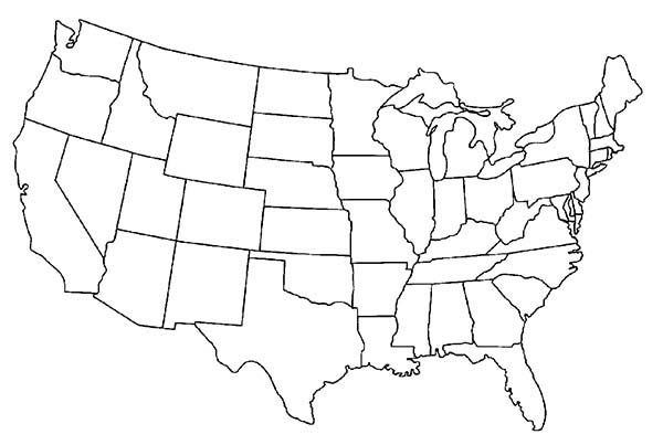Maps, : USA Maps Outline Coloring Pages