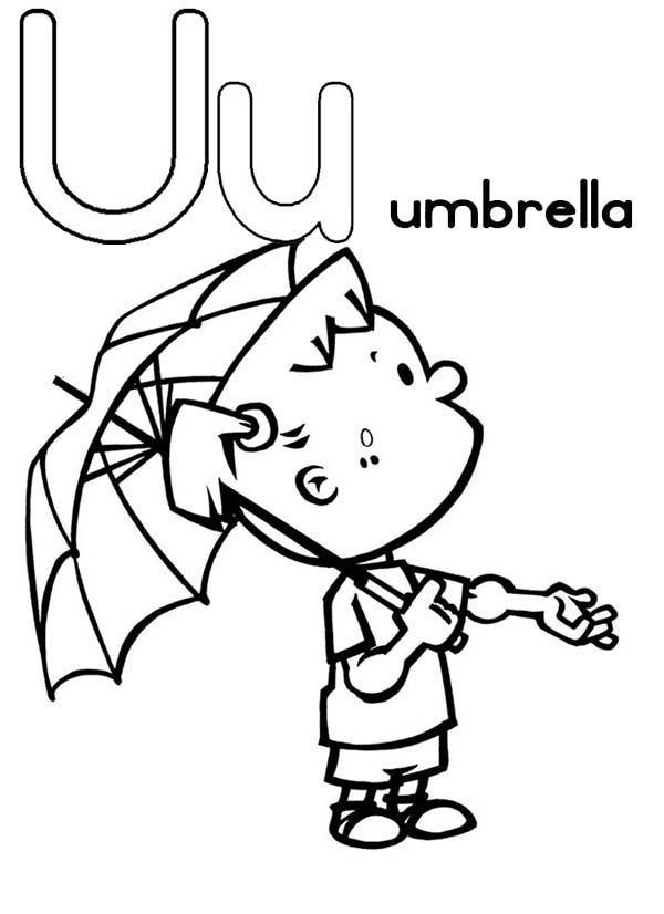 Letter U, : Umbrella for Learning Letter U Coloring Page