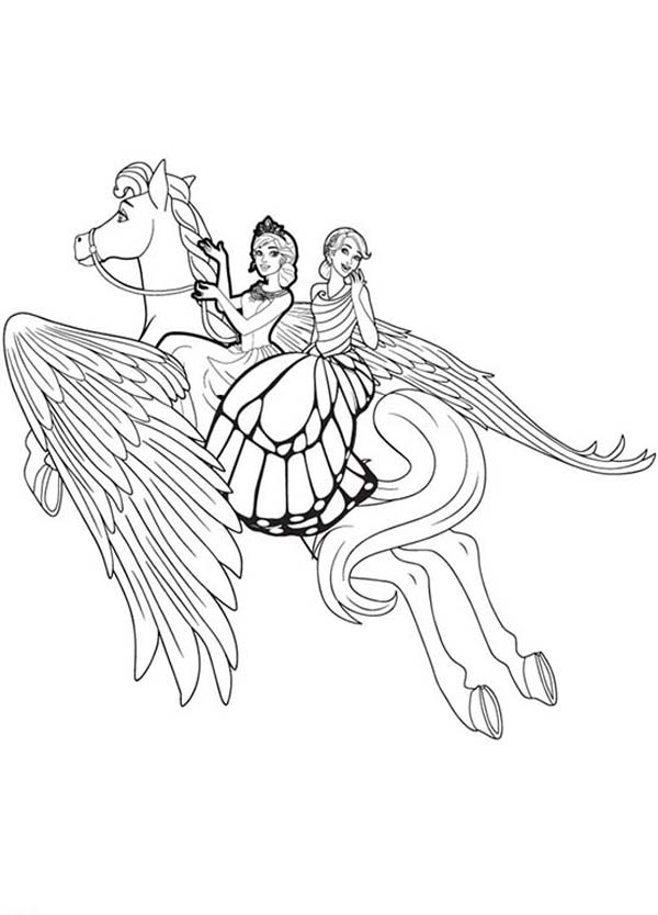Barbie Mariposa Unicorn Flying High Coloring Pages