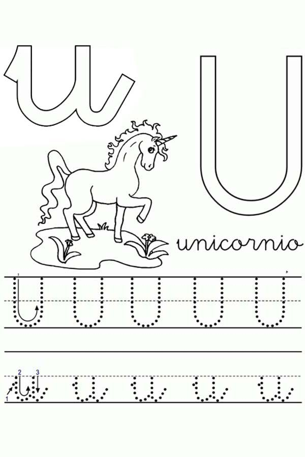 Letter U, : Unicorn Worksheet in Learning Letter U Coloring Page