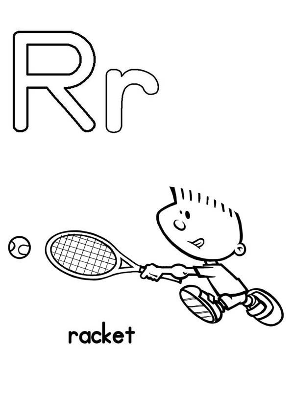 Letter R, : Upper Case and Lower Case Letter R Coloring Page