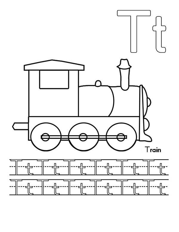 Letter T, : Upper Case and Lower Case Letter T for Train Coloring Page