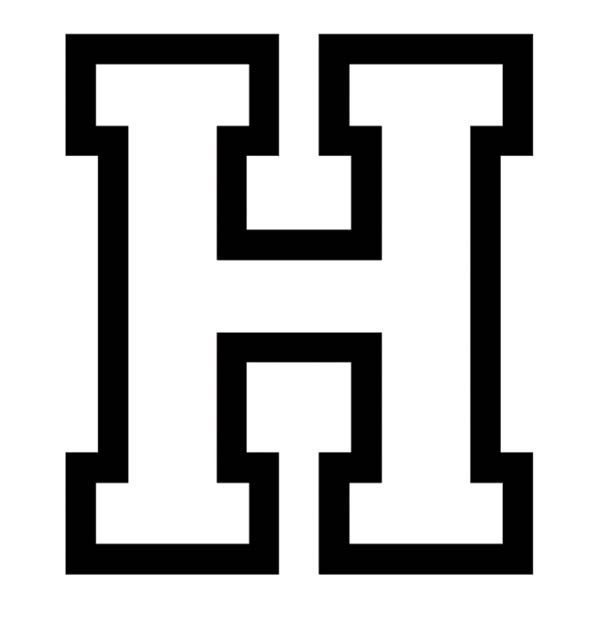 Letter H, : Uppercase Letter H Coloring Page