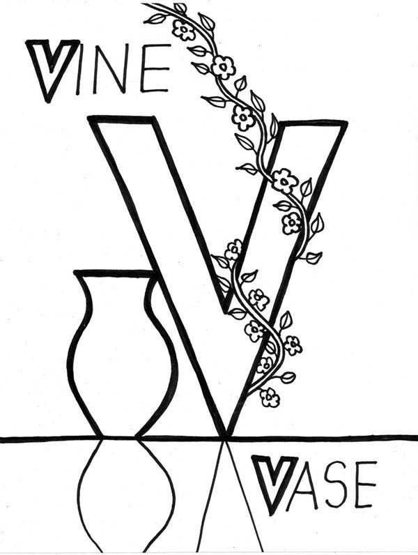Letter V, : Vine and Vase is for Lerning Letter V Coloring Page