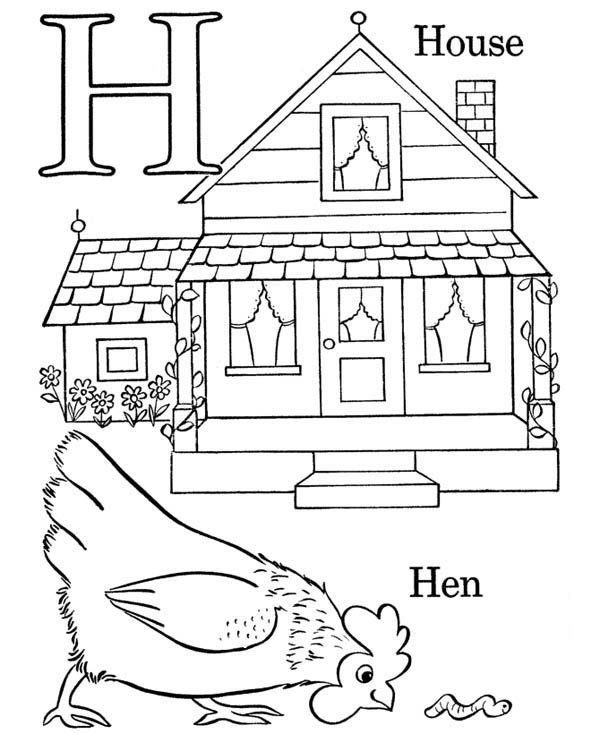 Letter H, : Words That Start with the Letter H Coloring Page