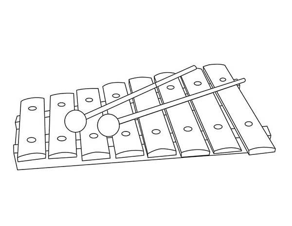 Musical Instruments, : Xylophone is a Musical Instruments Coloring Pages